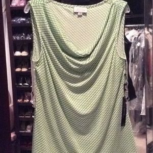 Tahari green, white, stretch, sleeveless, nwt, S